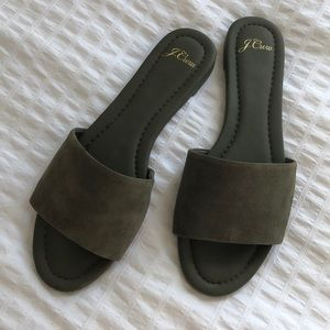 J. Crew Cora slide sandals w/ rubber bottom, suede